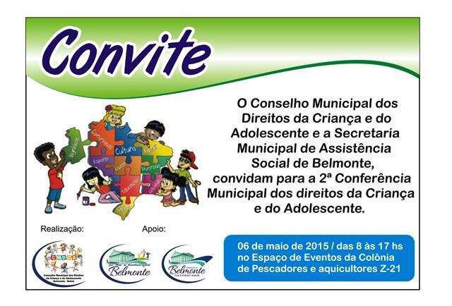Data da 2ª Conferência Municipal dos direitos da Criança e do adolescente é mudada.