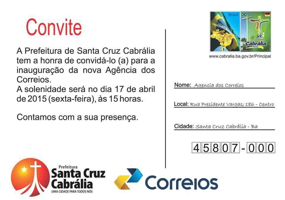 Inauguração da nova agência dos Correios de Santa Cruz Cabrália.