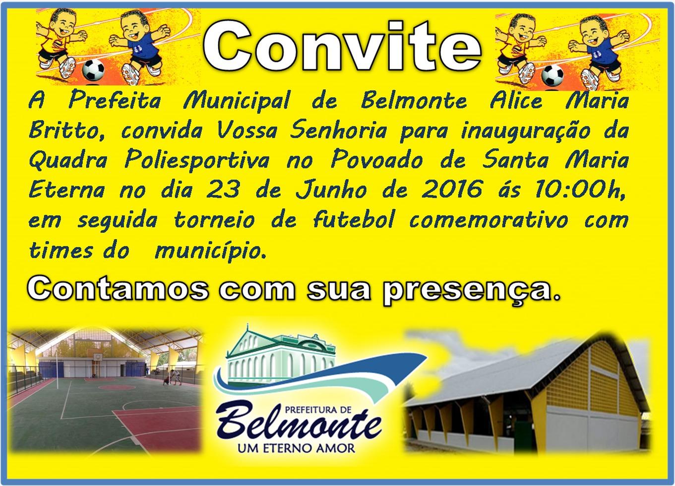 Prefeita Alice convida a comunidade para inauguração da Quadra Poliesportiva de Santa Maria Eterna.