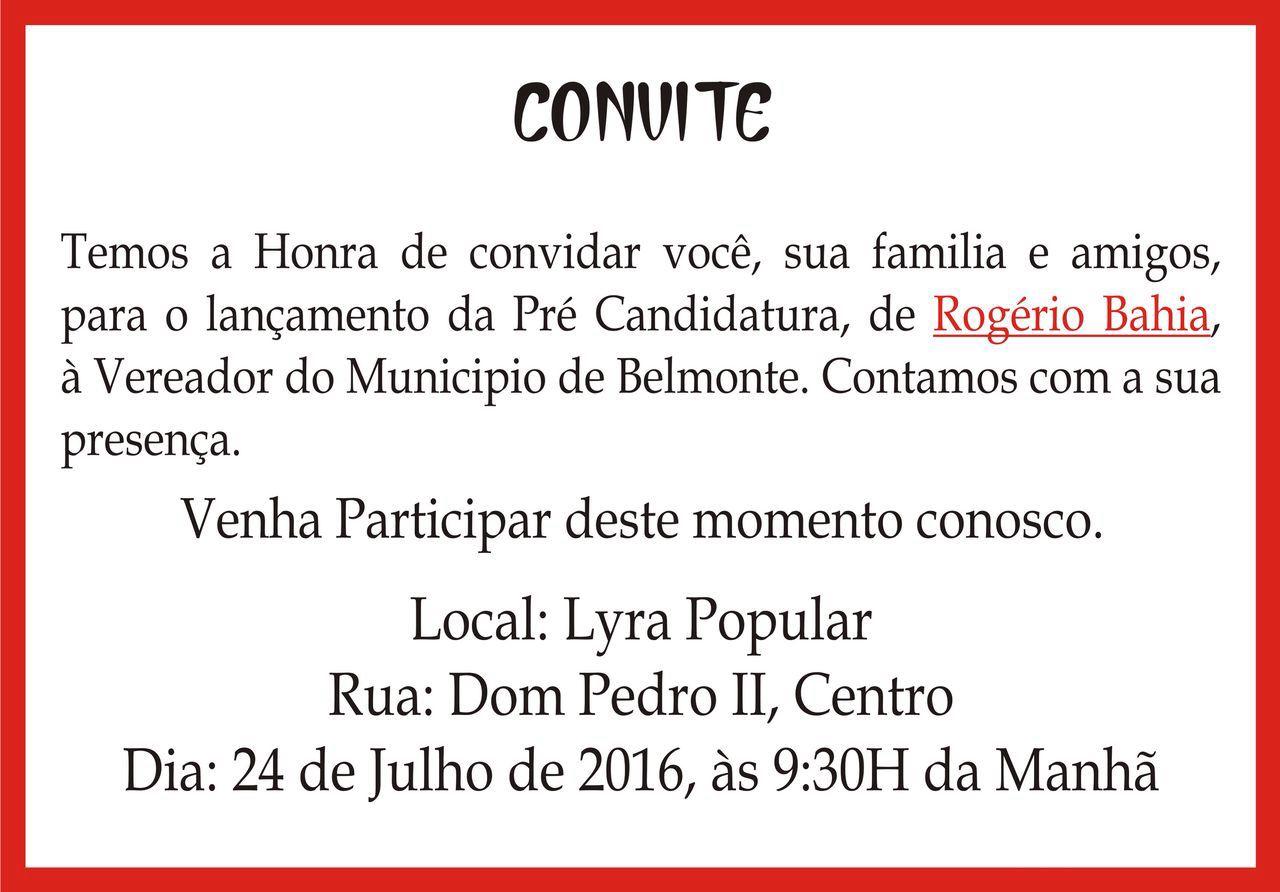 Rogério Bahia convida amigos e familiares para o lançamento da sua pré-candidatura