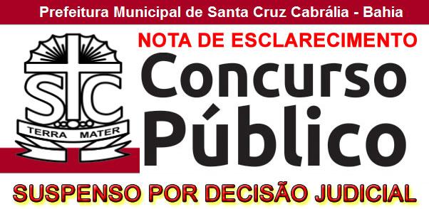 Nota Oficial sobre a suspensão do Concurso Público da Prefeitura de Santa Cruz Cabrália