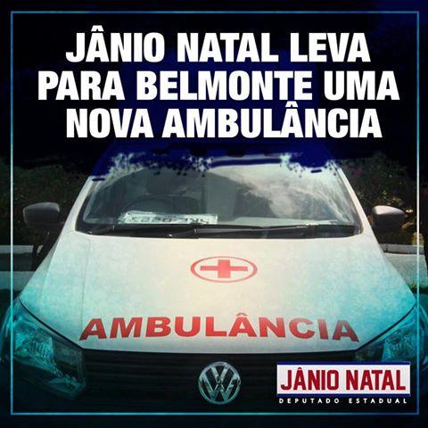 Jânio Natal consegue nova ambulância para o município de Belmonte.