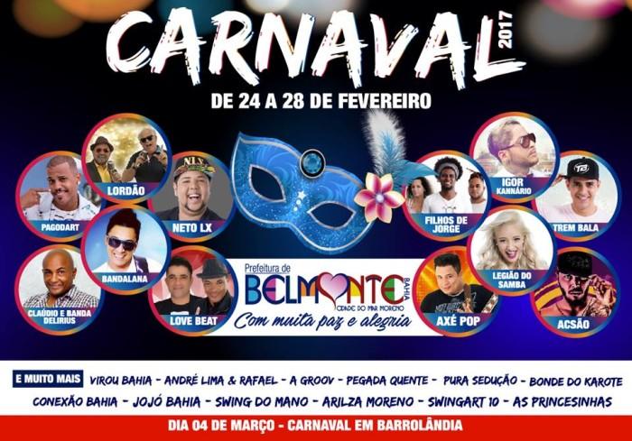 Prefeitura de Belmonte divulga a programação dos dias de folia do Carnaval 2017.