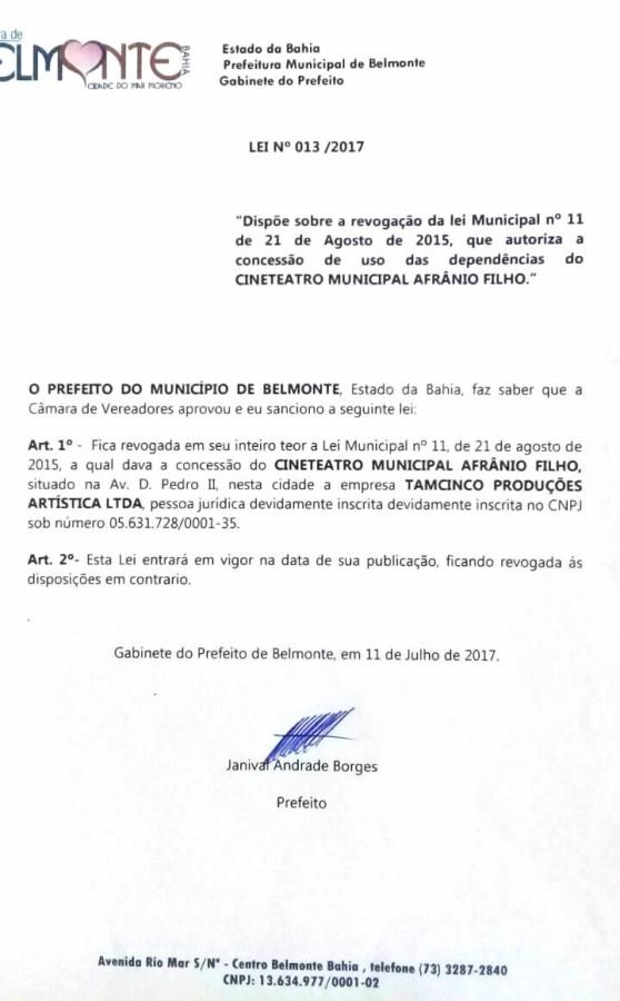 Projeto Sancionado pelo Prefeito Janival Borges.
