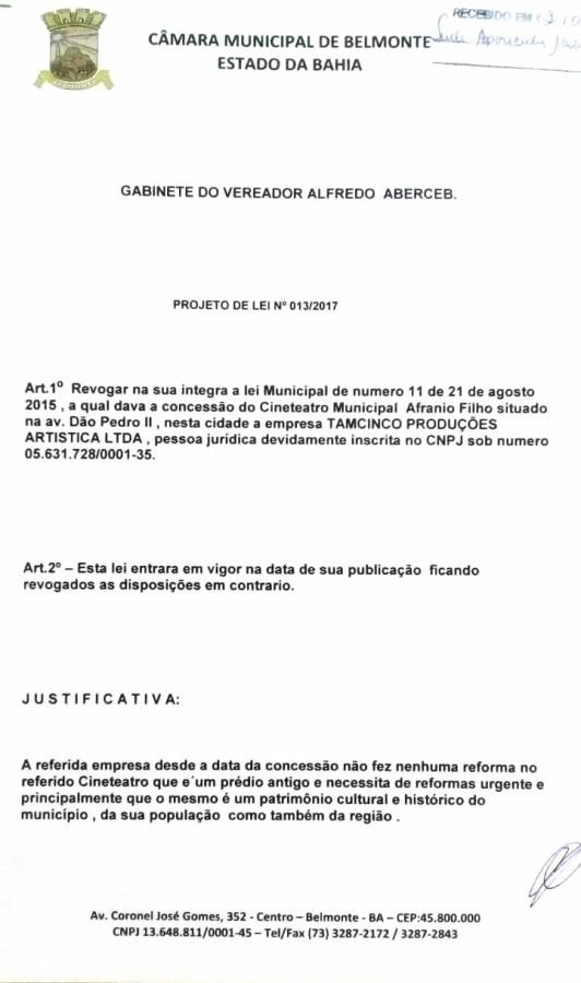 Projeto de Lei de Autoria do Vereador Alfredo Aberceb.